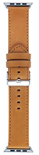 DBramante1928 Copenhagen Apple Watch 42mm Leren Horlogeband Lichtbruin/Zilver Main Image