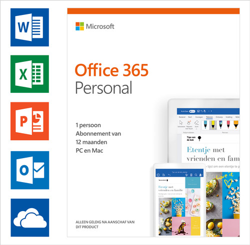 Microsoft Office 365 Personal Abonnement 1 jaar NL Main Image