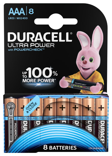 Duracell Ultra Power alkaline AAA batteries 8 pieces Main Image