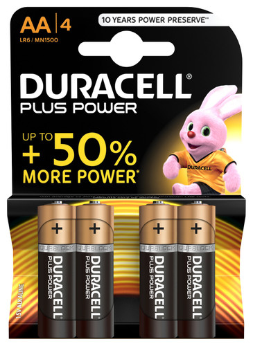 Duracell Plus Power alkaline AA batteries 4 pieces Main Image