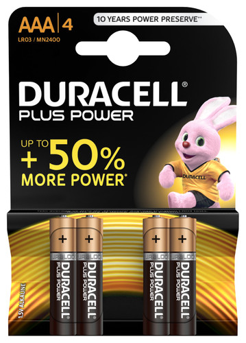 Duracell Plus Power alkaline AAA batteries 4 pieces Main Image