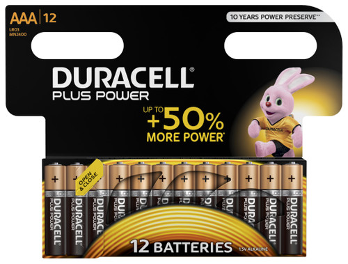 Duracell Plus Power alkaline AAA batteries 12 pieces Main Image