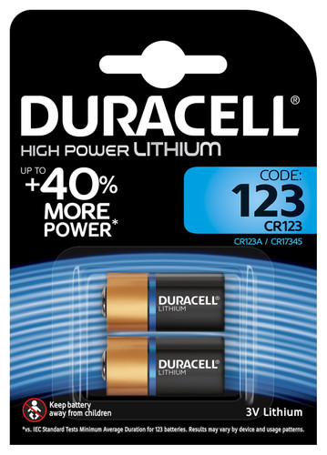 Duracell High Power Lithium 123 battery 3V 2 pieces Main Image