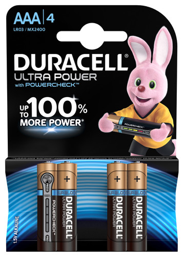 Duracell Ultra Power alkaline AAA batteries 4 pieces Main Image