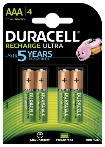Duracell Recharge Ultra AAA batteries 4 pieces Main Image