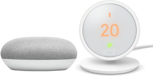 Nest Thermostat E + Google Home Mini White Main Image