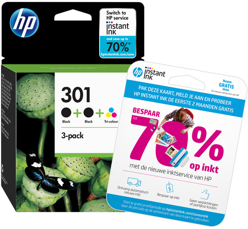HP 301 Ink Cartridge 3-Pack Main Image