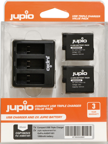 Jupio Kit: Battery GoPro HERO5 / 6/7 & HERO (2018) battery (2x) + USB Triple Charger Main Image