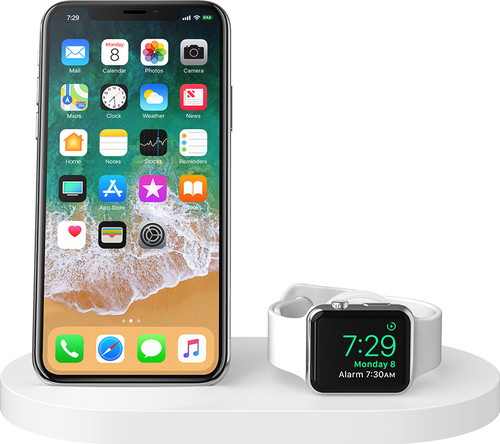Belkin Boost Up Draadloze Oplader met USB A Poort iPhone/Apple Watch Wit Main Image