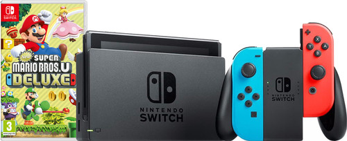 Nintendo Switch Red/Blue New Super Mario Bros. U Bundle Main Image