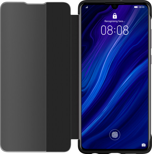 Huawei P30 View Flip Cover Book Case Black Main Image