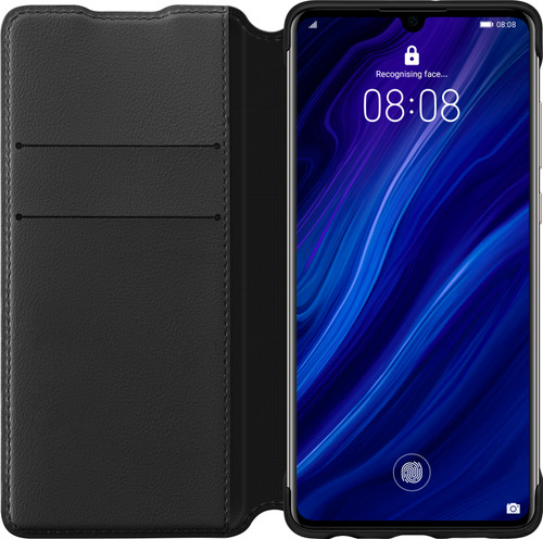 Huawei P30 Flip Cover Book Case Black Main Image