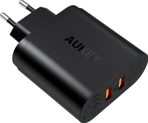 Aukey Usb A Thuislader met 2 Poorten 3A Quick Charge Zwart Main Image
