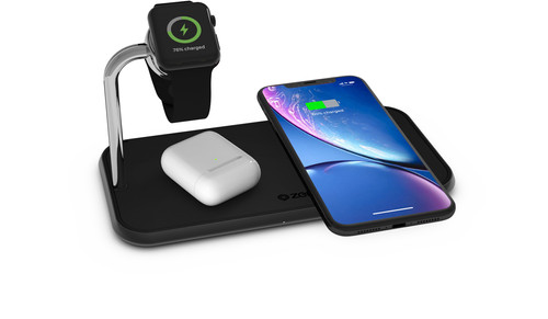 ZENS Dual & Watch Aluminum Wireless Charger 10W Black Main Image