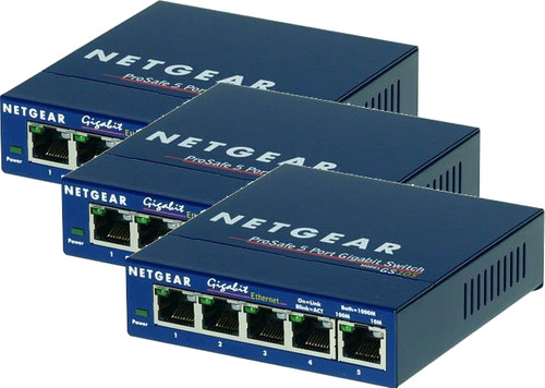 Netgear GS105GE 5-Port Gigabit Network Switch 3 Pack Main Image