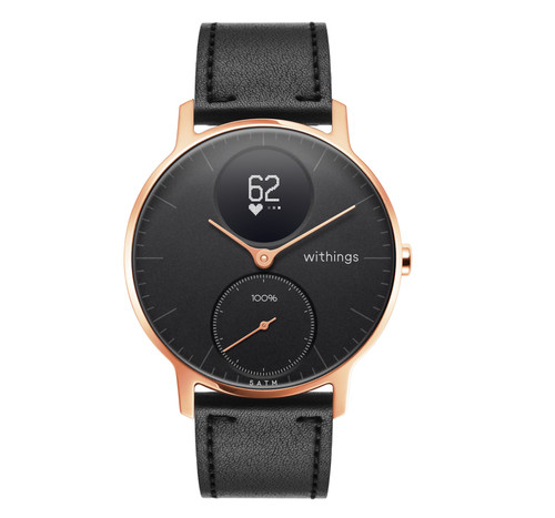 Withings Steel HR (36mm) Rose Gold Black Leather Main Image