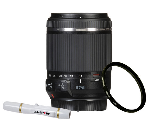 Tamron 18-200mm f/3.5-6.3 Di II VC Canon EF-S + UV-Filter 62mm + Elite Lenspen Main Image