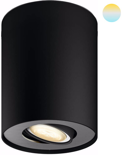 Philips Hue Pillar Mounted Spot White Ambiance 1 Light Black + Dimmer Main Image