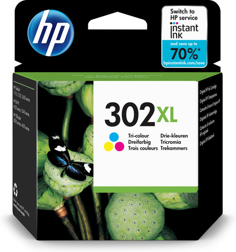 HP 302 Cartridge 3-Kleuren XL (F6U67AE) Main Image