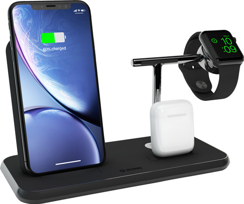 ZENS Wireless Charger 10W with Stand and AirPods Dock + Watch Stand Black Main Image