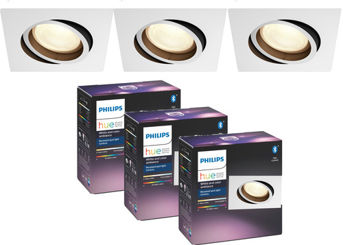 Philips Hue Centura inbouwspot White & Colour vierkant wit 3-Pack Main Image