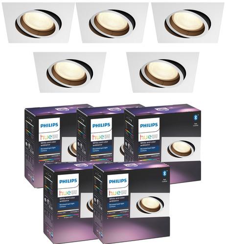 Philips Hue Centura Inbouwspot White & Colour vierkant wit 5-Pack Main Image