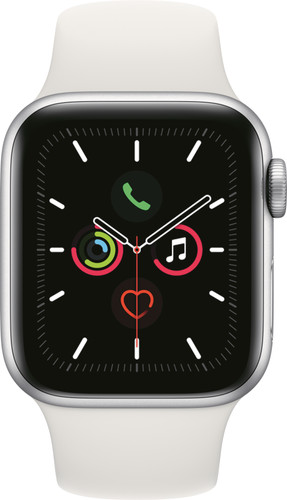 Apple Watch Series 5 40mm Silver Aluminum White Sport Band Main Image