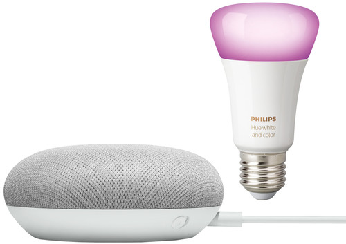 Google Home Mini Wit + Philips Hue White and Color E27 Losse Lamp Bluetooth Main Image