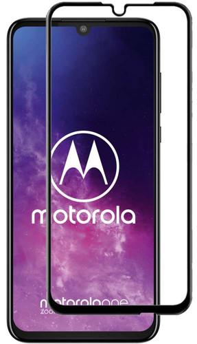 Just in Case Full Cover Motorola One Zoom Screenprotector Gehard Glas Zwart Main Image