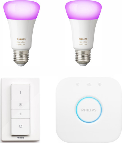 Philips Hue White & Color Starter Pack E27 with 2 lamps + 1 dimmer Main Image