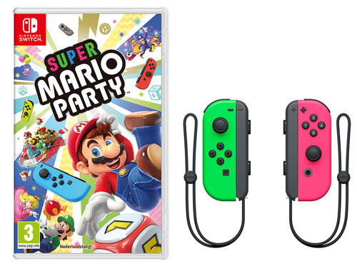 Super Mario Party Switch + Switch Joy-Con set Neon Groen/Roz Main Image