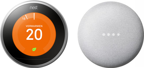 Nest Learning Thermostat V3 + Google Nest Mini White Main Image