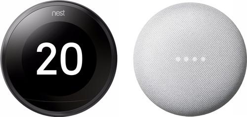 Nest Learning Thermostat V3 Premium Zwart + Google Nest Mini Wit Main Image