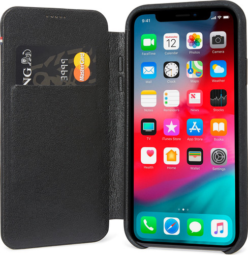 Decoded Leather Slim Wallet Apple iPhone Xr Book Case Zwart Main Image