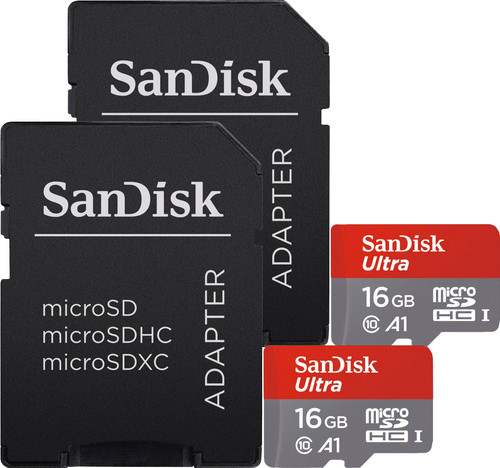 Sandisk MicroSDHC Ultra 16GB Class 10 A1 + SD adapter Duo Pack Main Image