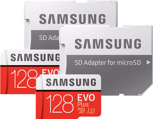 Samsung microSDXC EVO+ 128 GB 100MB/s CL10 + SD Adapter Duo Pack Main Image