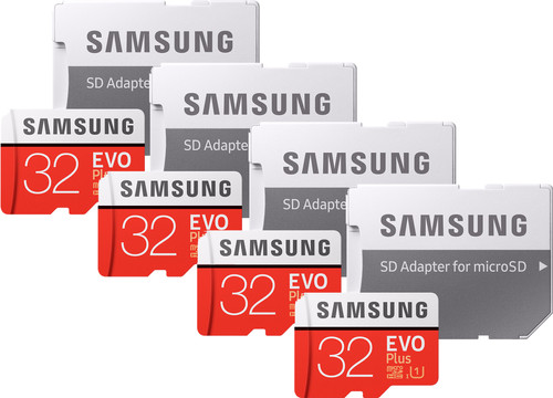 Samsung microSDHC EVO+ 32 GB 95MB/S CL 10 + SD Adapter Quad Pack Main Image