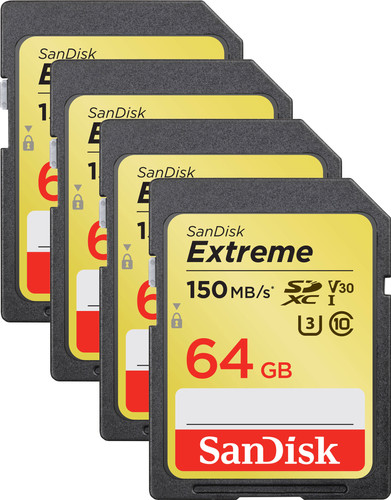 SanDisk SDXC Extreme 64 GB 150MB/s Quad Pack Main Image