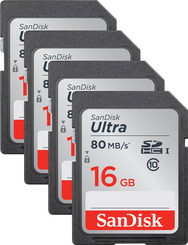 SanDisk SDHC Ultra 16GB Class 10 Quad Pack Main Image