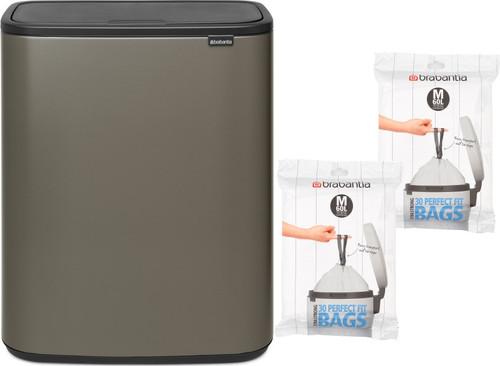 Brabantia Bo Touch Bin 60 Liter Platinum + Vuilniszakken (60 stuks) Main Image
