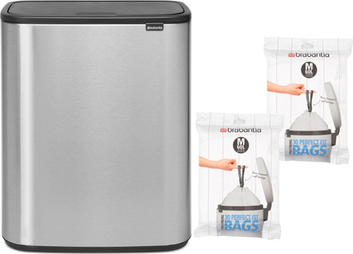 Brabantia Bo Touch Bin 60L Steel Fingerprint Proof + Trash Bags (60 units) Main Image