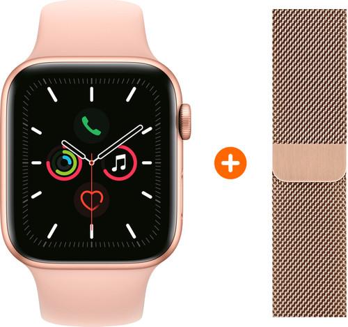 Apple Watch Series 5 40mm Goud Roze Sportband + Polsband Milanees Goud Main Image