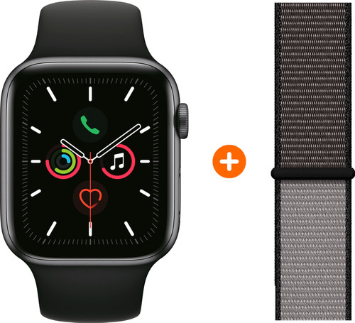 Apple Watch Series 5 40mm Space Gray Zwarte Sportband + Nylon Sport Loop Anchor Gray Main Image