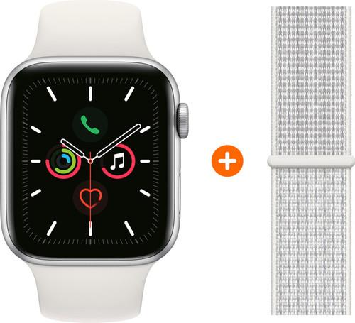 Apple Watch Series 5 40mm Zilver Witte Sportband + Nylon Sport Loop Summit White Main Image
