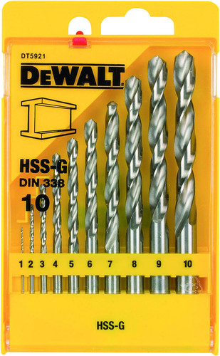 DeWalt 10-piece metal drill set HSS-G Main Image