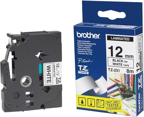 Brother TZ-231 Label Zwart op Wit (12 mm x 8 m) Main Image