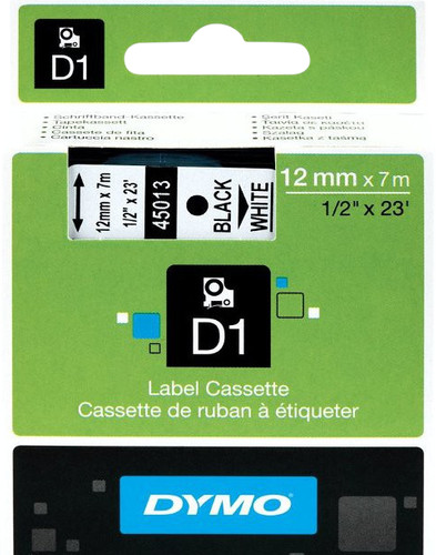 Dymo D1 Naamlabels Zwart-Wit (12 mm x 7 m) Main Image