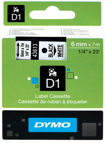 Dymo D1 Name labels Black-White (6 mm x 7 m) Main Image