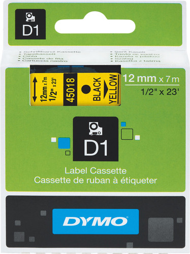Dymo D1 Name Labels Yellow-Black (12 mm x 7 m) 1 Roll Main Image
