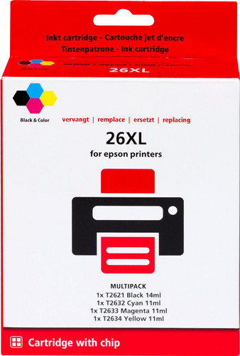 Pixeljet 26 XL 4-Color Pack for Epson printers (C13T26364010) Main Image
